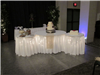 Wedding reception lighted cake table