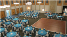 Turquoise and white wedding reception aerial view of tables around the dance floor