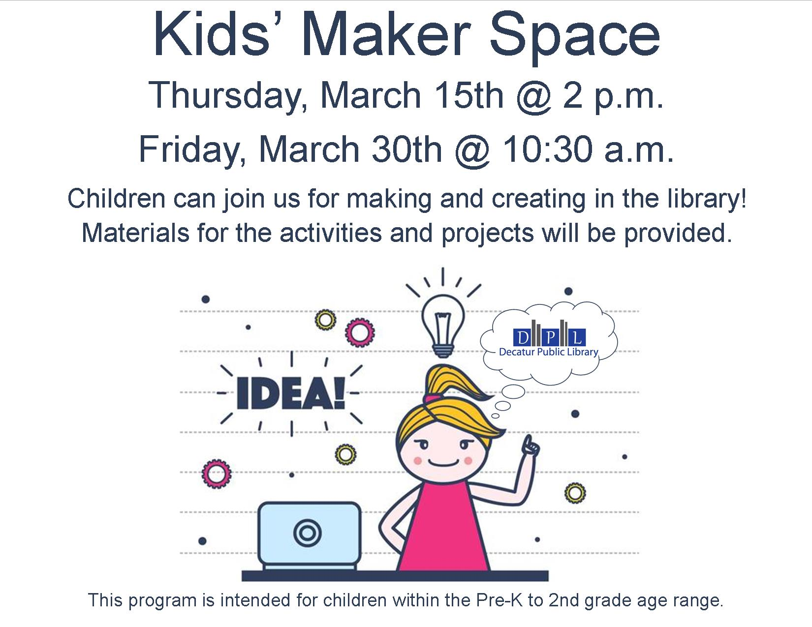 kids maker space slide